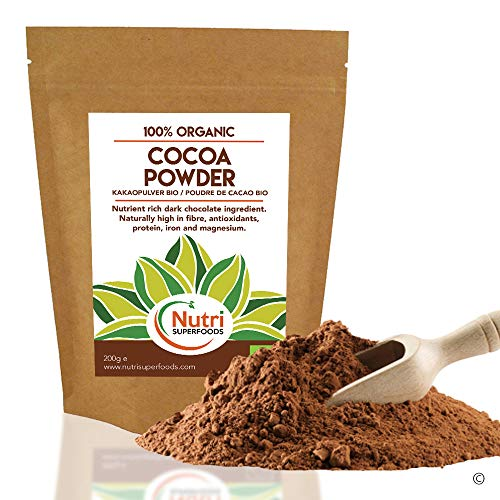 Nutri Superfoods - Organic Cocoa powder - Vegan, pure dark chocolate ingredient - Unsweetened and ideal for baking, hot chocolate and smoothies - 200g