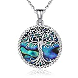 Collar de árbol de la vida, plata de ley 925, colgante de concha de abulón, árbol de la vida, joyería de plata personalizada para mujeres, regalos especiales para mamá/novia/esposa