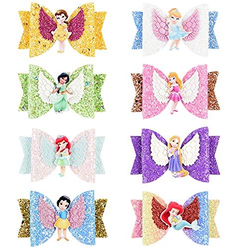 Horquilla de Arco, Hilloly 8 Piezas Lazos de Lentejuelas, Pinzas de Pelo Horquilla linda Pinza para El Pelo de Princesas Lazos de Pelo con Purpurina para Nñas