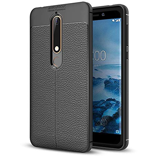 NALIA Leather Look Case Compatible with Nokia 6.1 2018, Silicone Ultra-Thin Protective Phone Cover Rubber-Case Gel Soft Skin, Shockproof Slim Back Bumper Protector Backcase Smartphone Shell - Black