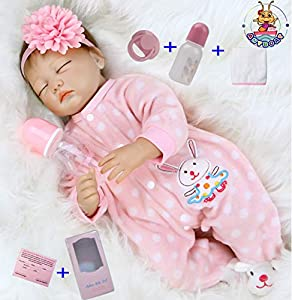 Size: about 22 inches (55cm); Weight: about 1.5 kg .The doll is handmade, there will be some size error and weight.The baby can adapt to newborn-sized baby clothes. A magnetic pacifier can fit your mouth. Package that includes: Reborn baby doll girl ...