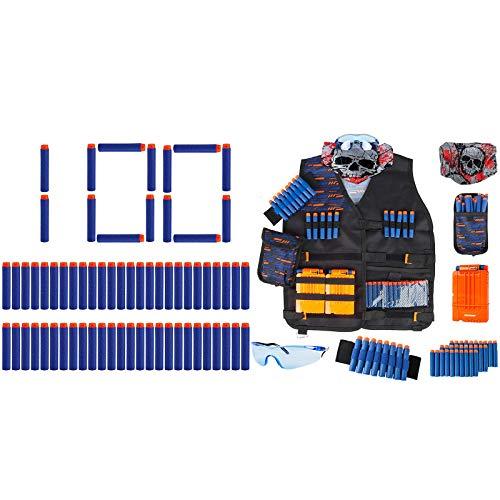 Little Valentine 100-Dart Refill Pack + Kids Tactical Vest Kit for Nerf Guns N-Strike Elite Series