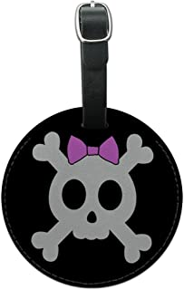Girly Skull And Crossbones With Hairbow Round Leather Luggage ID Tag Suitcase