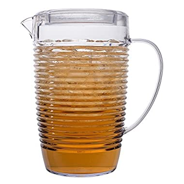 Break Resistant Clear Plastic Pitcher with Lid for Iced Tea, Sangria, Lemonade (81 fl oz. / 2.5 quarts)