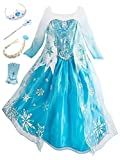 YOSICIL Princesa Disfraz de Princesa Frozen Elsa Disfraces de Princesa Manga Gradiente Fancy Dress E...
