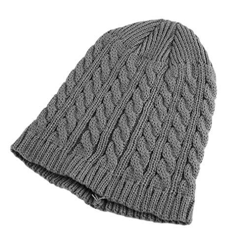 LZ119 Winter enkellaags heren Dames Modieus Twist gebreid ontwerp Hoed Warm houden Bescherm oorhoeden Lichtgrijs