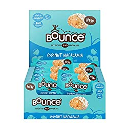 PROTEIN PACKED BALLS: This Bounce Protein ball has a tropical twist, flavoured with creamy coconut and macadamia nuts they are packed with protein and dangerously moreish! With a gooey nut butter filling, each ball is seriously satisfying, delicious ...
