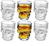 Circleware Skull Face Heavy Base Whiskey Shot Glasses Set of 6, Party Home Entertainment Dining Beverage Drinking Glassware for Brandy, Liquor, Bar Decor, Jello Cups, 1.7 oz, Fun Shooters, Clear