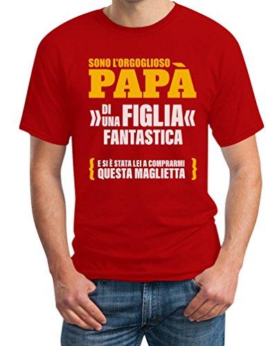 Sono L orgoglioso papà di Una Figlia Fantastica - Regalo T-Shirt Maglietta Uomo XX-Large Rosso
