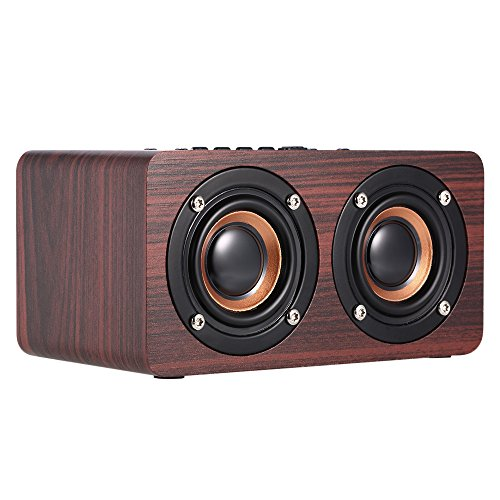 Docooler Holz Bluetooth Lautsprecher, W5 Red Wood Grain Bluetooth Lautsprecher Bluetooth 4.2 10W Dual Louderspeakers Super Bass Subwoofer Hands-frei mit Mic 3.5mm AUX-IN TF Karte-Slot