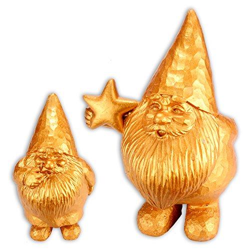 WOP ART Schwerer Goldener Design Gartenzwerg Modell Santa aus Zement (Klein ohne Stern)