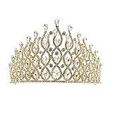 ZHANGYY Couronnes De Cristal Et Diadèmes Fer Perle Gâteau Décoration Noce Coiffe Bandeau pour Prom Mariée,White,imitation18K