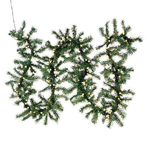 Weihnachtsgirlande mit 200 LED Kugeln gefrostet – Weihnachtsschmuck Tannengirlande grünes Kabel innen außen Trafo Timer 180 Spitzen