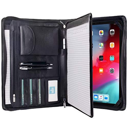 高級牛革製 12.9インチ iPad Pro (2018/2020年発売モデル) 用牛革レザーケース A4サイズ書類用 システム手帳タイプビジネスブリーフケース (ブラック)