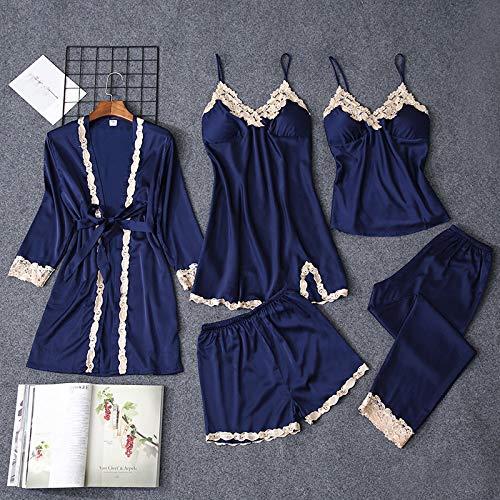 Dames Pyjama,5 Stks Sexy Lingerie Zijden Pyjama Set Lange Mouwen Gewaad Sling Satijn Kant Vrouwen Nachthemd NachtkledingHomewear Loungewear Femme