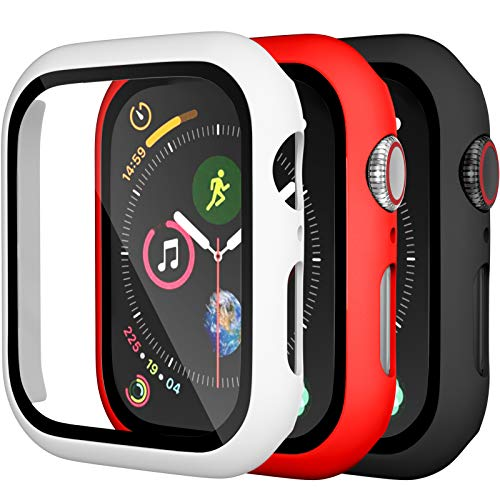 Charlam Compatible with Apple Watch Case 44mm iWatch SE Series 6 5 4 with Screen Protector, Slim Guard Thin Bumper Full Coverage Hard Cover Defense Edge for Women Men, Black White Red, 3 Pack