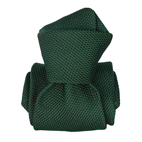 Segni et Disegni. Cravate grenadine. LUCIA, Soie. Vert, Uni. Fabriqué en Italie.