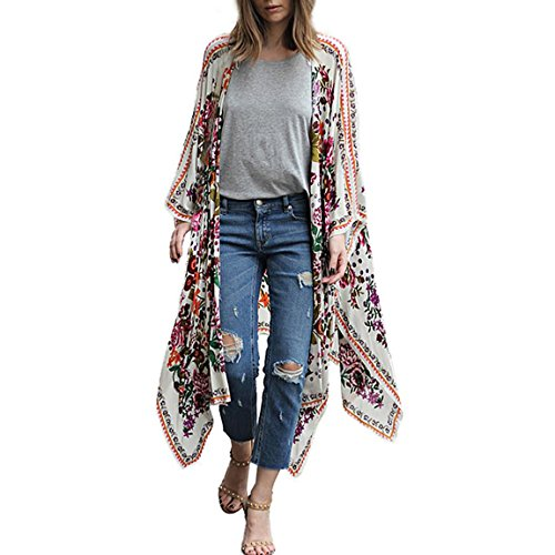 HANMAX Damen Boho Chiffon Cardigan Strand Poncho Kimono Jacke Bikini Cover Up Beachwear Bademode Outwear