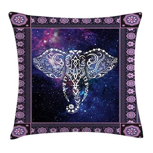 N\A Animal Throw Pillow Cojín, Elefante en un Marco en el Espacio Exterior Galaxy Stars Andromeda Background Art Print, Funda de Almohada Decorativa con Acento Cuadrado, Malva púrpura