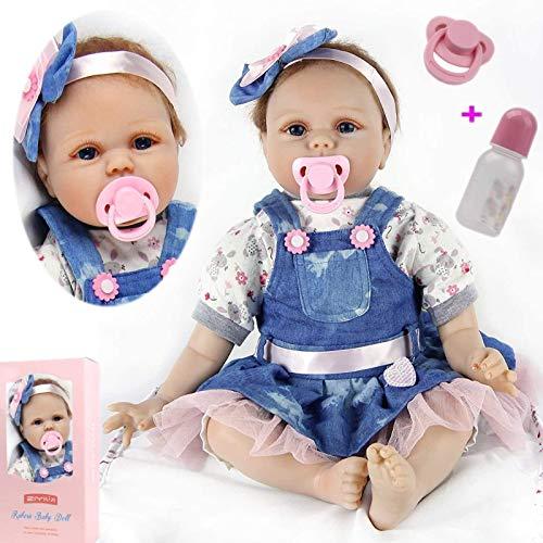 ZIYIUI Lebensechte Reborn Babypuppen 22Zoll 55cm Realistisch Weiches Vinylsilikon Reborn Babys Mädchen Handgemacht Neugeborene Echte Reborn Puppe