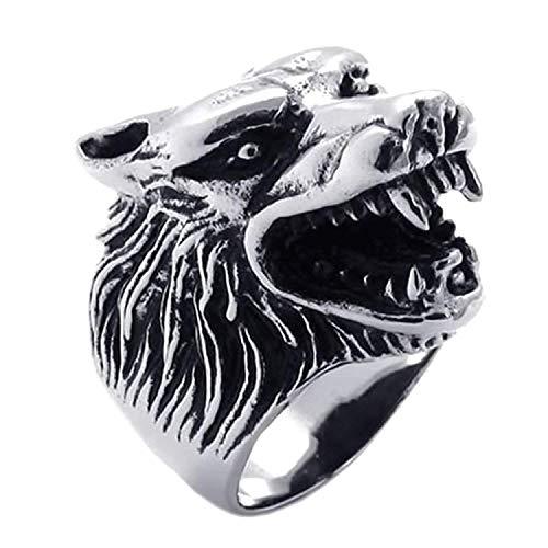 Anillo para hombreSodial joya para motero, de acero inoxidable, diseño gótico con cabeza de lobo, color negro y plateado