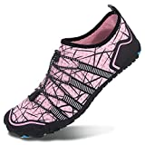 L-RUN Womens Water Sports Shoes Quick Drying Aqua Swim Shoes Pink Women 8 M U S