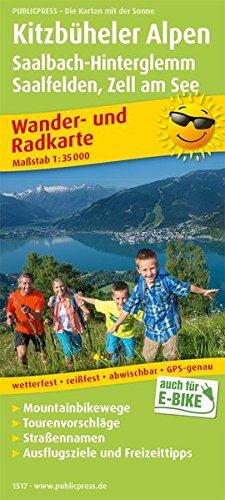 Kitzbüheler Alpen, Saalbach-Hinterglemm, Saalfelden - Zell am See: Wander- und Radkarte mit Ausflugszielen & Freizeittipps, wetterfest, reißfest, ... 1:35000 (Wander- und Radkarte / WuRK)