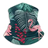 Archiba Flamencos Rosas con Hojas de Palma Fruta Floral Invierno Cuello Calentador Mascarilla Cuello Polaina Bufanda Cuello Reversible Envoltura calefactora