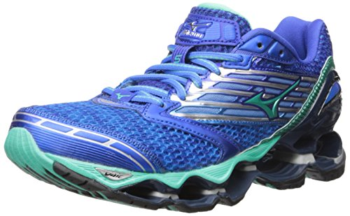Mizuno Women's Wave Prophecy 5 Running Shoe, Diva Blue/Electric Green, 7 B US