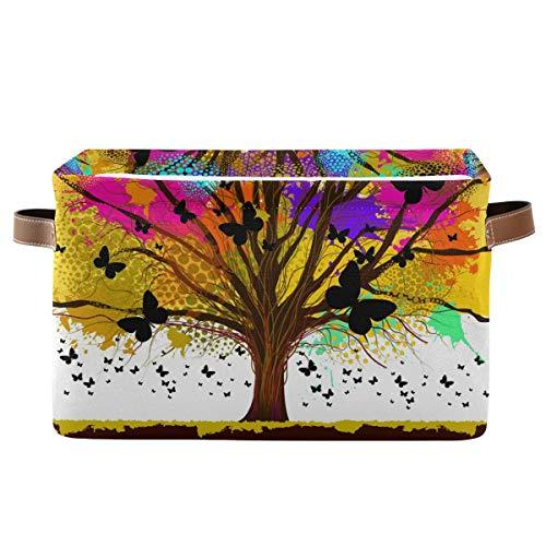 XXNO - Cesta de almacenamiento para árbol colorido con mariposas, organizador de almacenamiento perfecto de 2 unidades, cubos de almacenamiento plegables para ropa, juguetes y guarderías