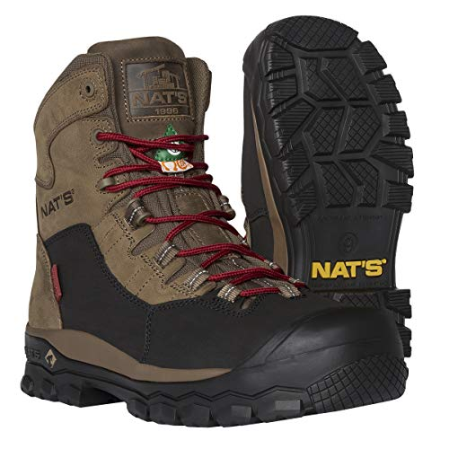 NAT'S S620 - Waterproof Construction Steel Toe Boots for Men - CSA Approved Lightwieght Men's Work Boots - Dielectric Approved Non Slip Work Boots - Breathable for an All-Day Comfort. (Kaki, 2.2 lbs)