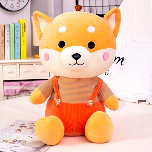 Recordever Zachte Donzen Katoenen Hani Hond Knuffel Pop Zitten Riem Shiba Inu Pop-bruin Rode Jurk Model_60cm
