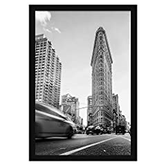 Design: black 24x36 inch poster frame with thick moldings, perfect for your cherished memories and favorite posters; comes with hanging hardware for hassle-free display in both horizontal and vertical formats to hang flat against the wall Material: w...