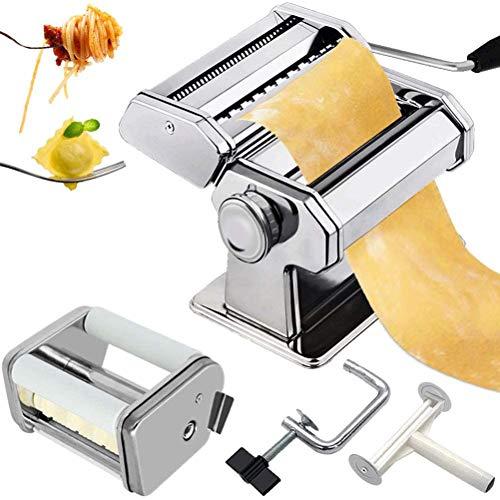 ALWWL Nudelmaschine, Manuell Pasta Walze Maschine, Pasta Maker, mit Einstellbarer Dickeneinstellung und Tischklemme, Geschenk, für Spaghetti, Fettuccini, Lasagne oder Knödelhaut