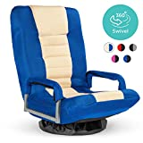 Best Choice Products Multipurpose 360-Degree Swivel Gaming Floor Chair for TV, Reading, Playing w/Lumbar Support, Armrest Handles, Foldable Adjustable Backrest, Machine Washable - Blue/Beige
