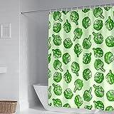 Socoz Waschbarer Duschvorhang 90X180cm,Duschvorhang Weiß Gemüse Muster Grün Duschvorhänge