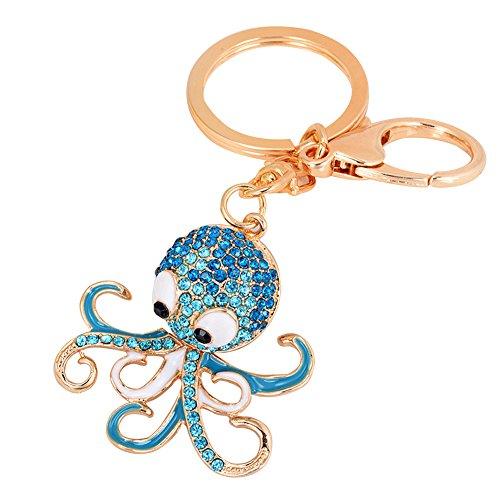 Tangbasi® Schlüsselanhänger mit Oktopus-Motiv, mit Strasssteinen, bezaubernder Anhänger, blau (Blau) - Tangbasi-123