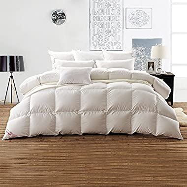 SNOWMAN White Goose Down Comforter Queen Size 100% Cotton Shell Down Proof-Solid White Hypo-allergenic