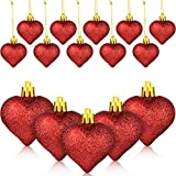 WILLBOND 48 Pieces Red Glitter Heart Shaped Christmas Tree Baubles Heart Shaped Hanging Ornaments for Valentine's Day Wedding Anniversary Decoration