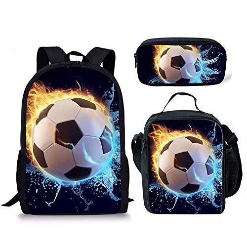 Schoolbag Backpack Bookbag Travel Daypack + Small Lunch Box for Kids Girls Boys Soccer Pencil Case