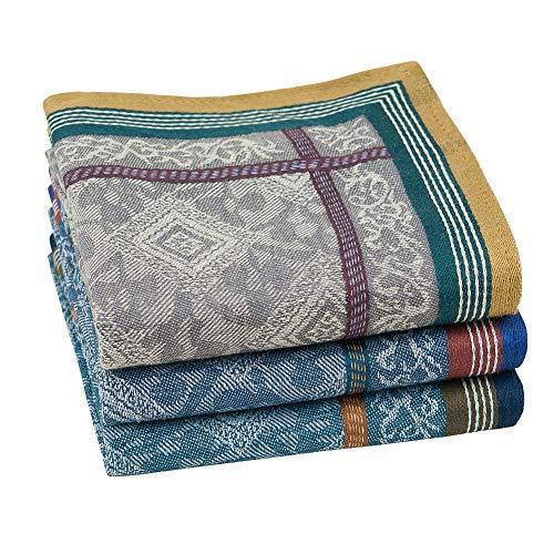 HOULIFE 3/6 Stücke Herren 100% Baumwolle Weich Stoff Taschentücher Einstecktuch mit Jacquard-Muster, 16.73x16.73''/42.5x42.5cm