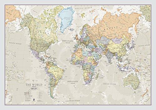 Maps International Riesige Weltkarte - Klassisches Weltkartenposter - Laminiert - 84 x 59 cm - Klassische Farben