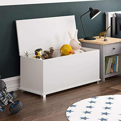 Vida Designs Leon Toy Box, Wooden Children's Storage Chest with Lid, Covers and Blankets, Kids Tidy Bin (White)