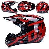 Casco De Motocross, Parabrisas, Guantes Y Gafas D.O.T Quad Kart ATV Casco Estándar Infantil, Fox, Negro Y Rojo,L