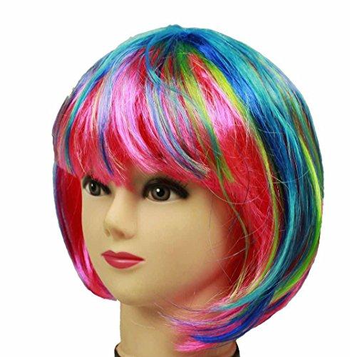 HAAC Wig Short Hair Colour Rainbow Multicoloured for Carnival Party