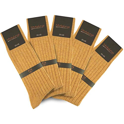 Mokalunga Chaussettes homme caramel (Lot de 5 paires) - Fabriqué en europe