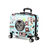LQLQY Portable Pet Cat Dog Trolley Case Carrier Backpack Breathable Astronaut Transparent Bag Cat Strollers Outdoor Travel Bags Cage 18'', Bear Pattern
