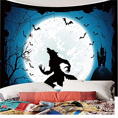 Weibing Tapiz de impresión en Color 3D Tapiz de patrón de Hombre Lobo de Luna Nocturna para decoración de Dormitorio de Sala de Estar 350(An) x256(H) cm