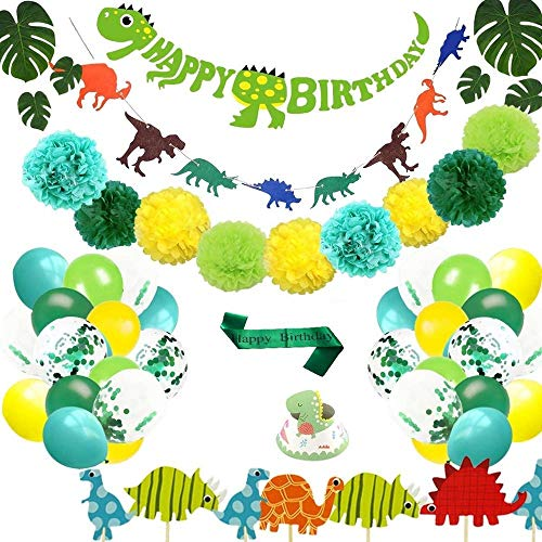KLICK&TELL Dinosaur Birthday Party Supplies for Kids Party with Balloons Garland, 69 pcs Dinosaur Party Supplies, Perfect Dinosaur Decorations for Events, Baby Shower, Bridal Shower, and for Dinosaur Party Decorations