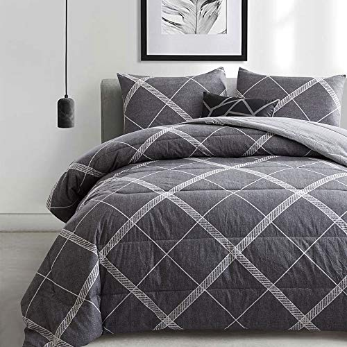 ATsense Comforter Set Queen, All Season 3-Piece 100% Cotton Fabric, Soft Microfiber Filled Bedding, Lightweight Reversible Duvet Insert (Grey&White, MY005)
